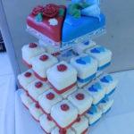 Skládaný dortík - červeno-modrý 1